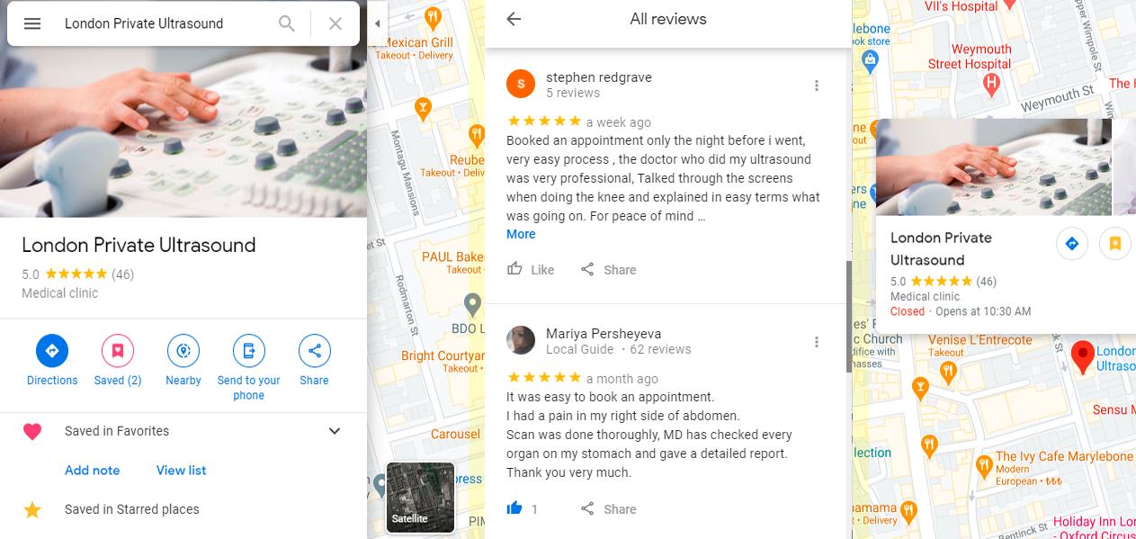 London Private Ultrasound Google Business
